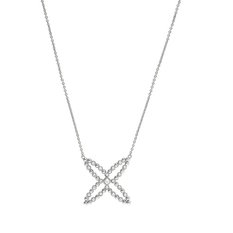 Beaded 4 Point Star Necklace - Crystal/Rhodium Plated