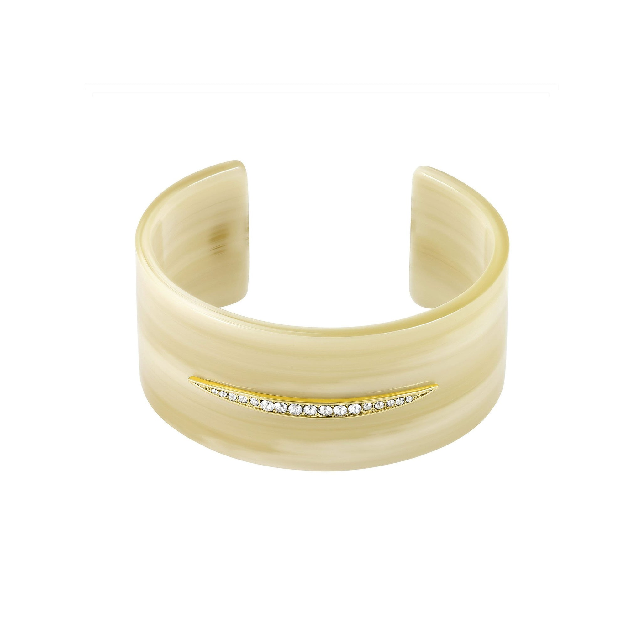Resin Wide Cuff - Crystal/White Resin/Gold Plated