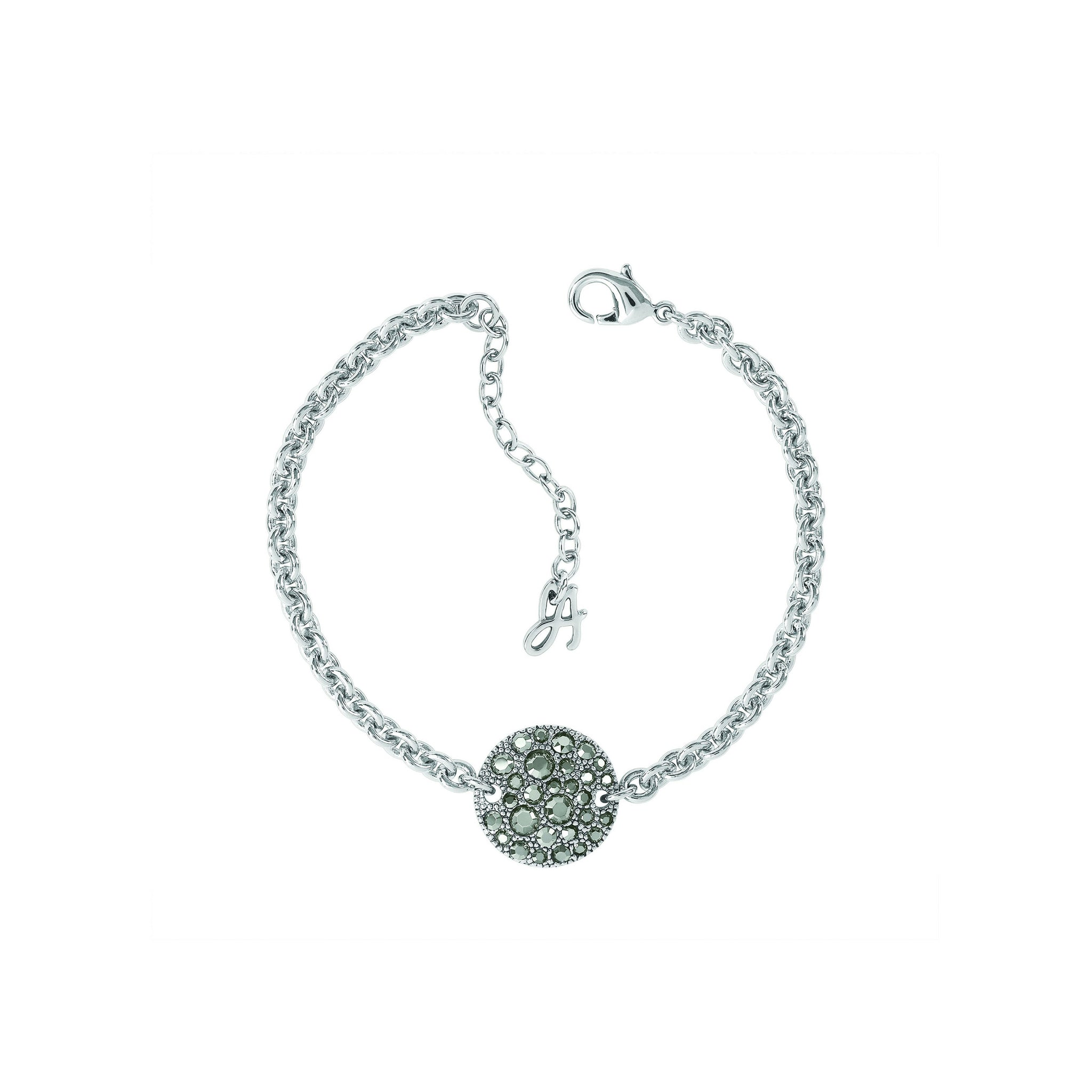 Small Metallic Pavé Disc Bracelet - Crystal/Rhodium Plated