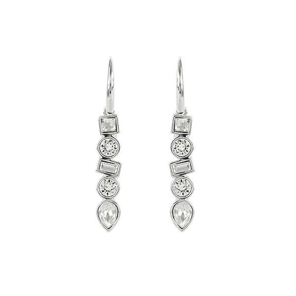 Mixed Crystal French Wire Earrings - Crystal/Rhodium Plated