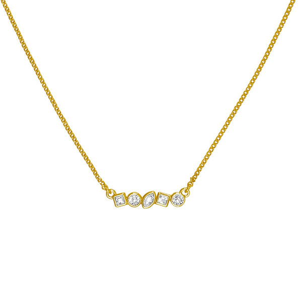 Adore Brilliance Gold Mini Mixed Crystal Bar Necklace Detail