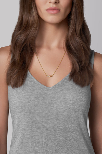 Adore Brilliance Gold Mini Mixed Crystal Bar Necklace Worn