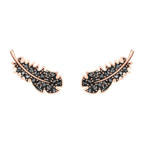 SWAROVSKI, NAUGHTY PIERCED EARRINGS, BLACK, ROSE-GOLD TONE PLATED