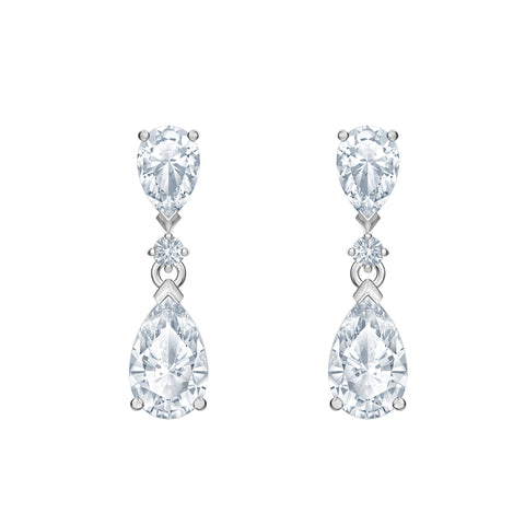 SWAROVSKI, PALACE DROP PIERCED EARRINGS, WHITE, RHODIUM PLATED