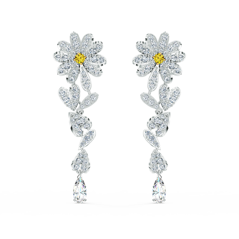 SWAROVSKI, ETERNAL FLOWER PIERCED EARRINGS, YELLOW, MIXED METAL FINISH