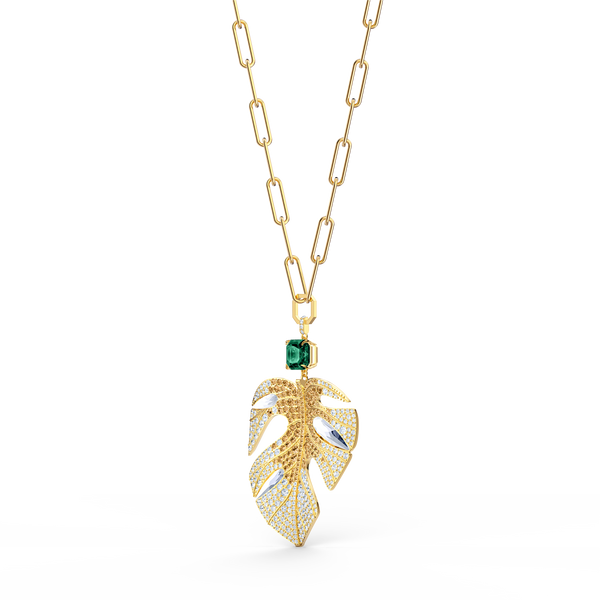 NEW SWAROVSKI Tropical Leaf Pendant, Light multi-colored, Gold-tone plated