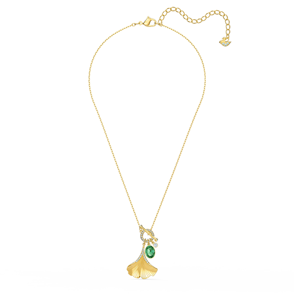 NEW SWAROVSKI STUNNING GINKO NECKLACE, GREEN, GOLD-TONE PLATED