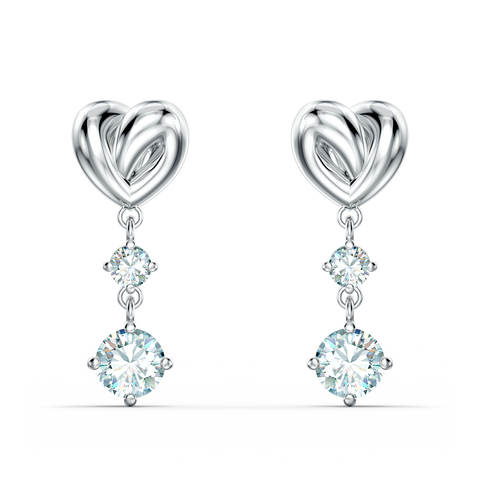 LIFELONG HEART PIERCED EARRINGS, WHITE, RHODIUM PLATED