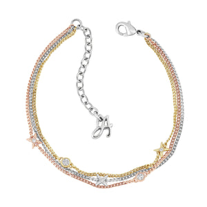 Adore Elegance 4 Point Star Multi Chain Bracelet Detail