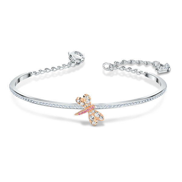 Swarovski, ETERNAL FLOWER BANGLE, PINK, MIXED METAL FINISH