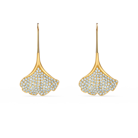 NEW SWAROVSKI STUNNING GINKO PIERCED EARRINGS, WHITE, GOLD-TONE PLATED
