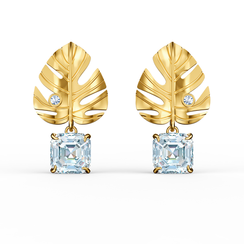NEW SWAROVSKI TROPICAL LEAF PIERCED EARRINGS, WHITE, GOLD-TONE PLATED