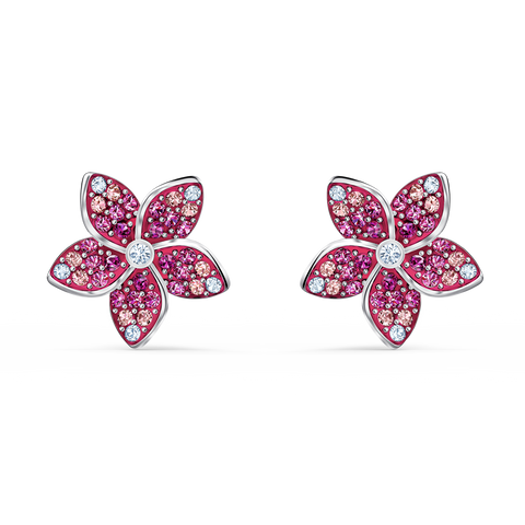 NEW SWAROVSKI TROPICAL FLOWER PIERCED EARRINGS, PINK, RHODIUM PLATED