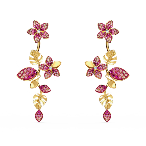 NEW SWAROVSKI TROPICAL FLOWER PIERCED EARRINGS, PINK, GOLD-TONE PLATED