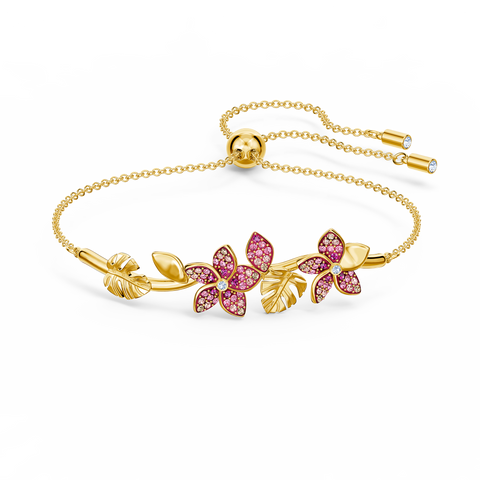 NEW SWAROVSKI TROPICAL FLOWER BANGLE, PINK, GOLD-TONE PLATED