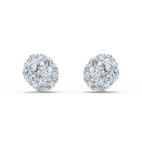 SWAROVSKI, SO COOL STUD PIERCED EARRINGS, WHITE, RHODIUM PLATED