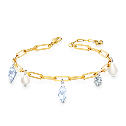 SWAROVSKI, SO COOL CHARM BRACELET, WHITE, MIXED METAL FINISH