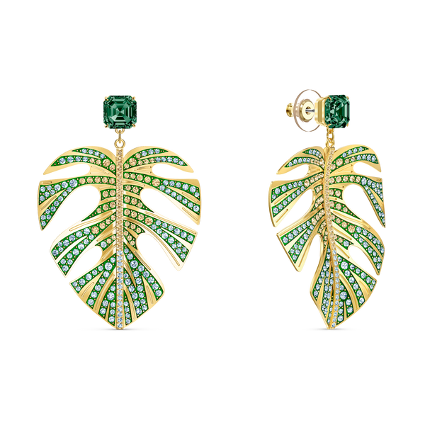 NEW SWAROVSKI Tropical Leaf Pierced Earrings, Green, Gold-tone plated