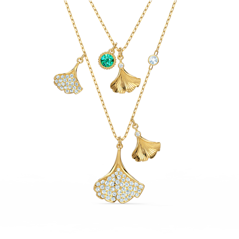 NEW  SWAROVSKI STUNNING GINKO LAYERED NECKLACE, GREEN, GOLD-TONE PLATED
