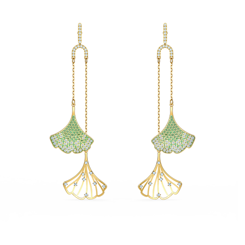 NEW SWAROVSKI STUNNING GINKO MOBILE PIERCED EARRINGS, GREEN, GOLD-TONE PLATED