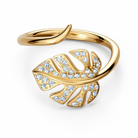 SWRAROVSKI Tropical Leaf Open Ring, White, Gold-tone plated