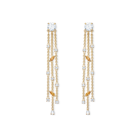 NEW  ATELIER SWAROVSKI BOTANICAL TASSEL PIERCED EARRINGS, WHITE, GOLD-TONE PLATED
