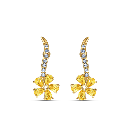 NEW  ATELIER SWAROVSKI BOTANICAL FLOWER PIERCED EARRINGS, YELLOW, GOLD-TONE PLATED