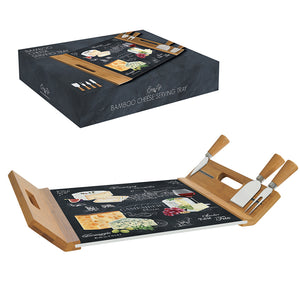 Cheese bamboo serving tray with 4 knives