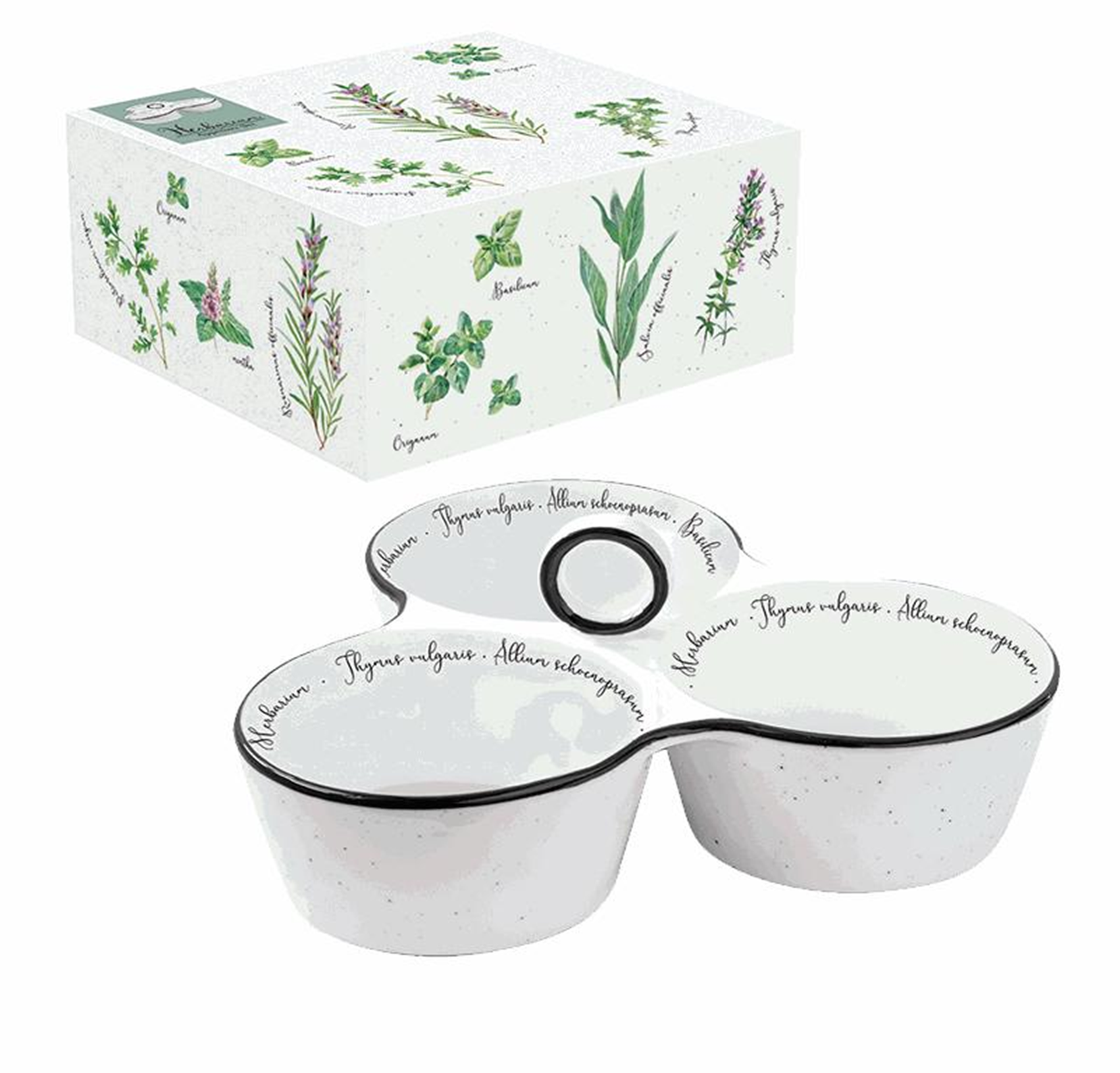 Porcelain appetizer set with a handle