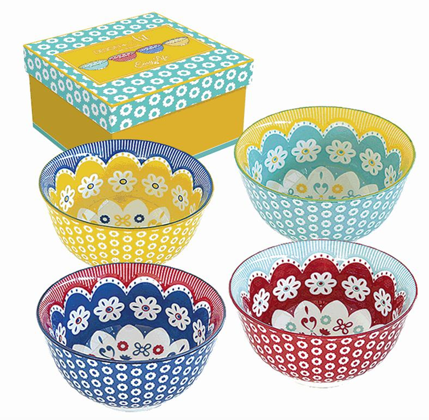 A set of 4 colorful bowls