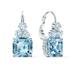 SWAROVSKI, SPARKLING PIERCED EARRINGS, AQUA, RHODIUM PLATED