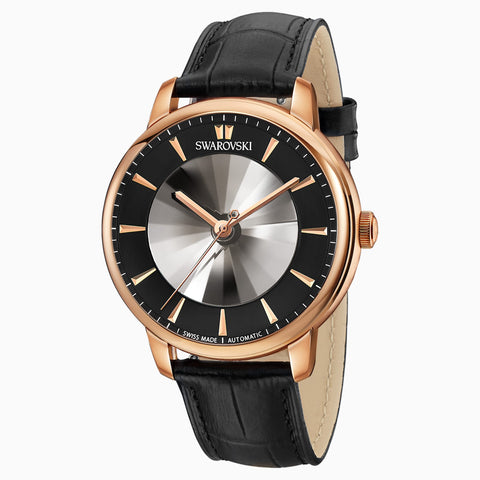 LIMITED EDITION ATLANTIS LIMITED EDITION AUTOMATIC MEN'S WATCH, LEATHER STRAP, BLACK, ROSE-GOLD TONE PVD