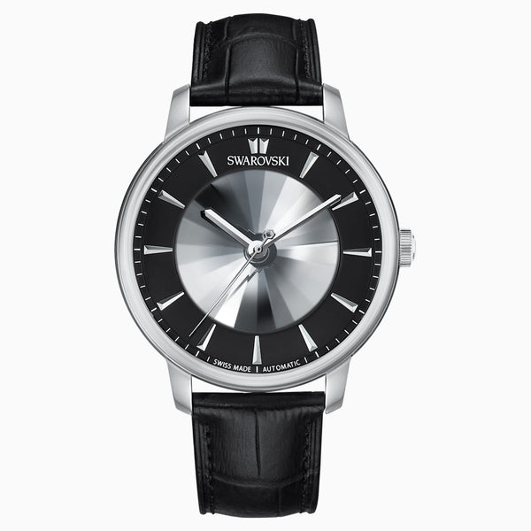 LIMITED EDITION ATLANTIS LIMITED EDITION AUTOMATIC MEN'S WATCH, LEATHER STRAP, BLACK, STAINLESS STEEL