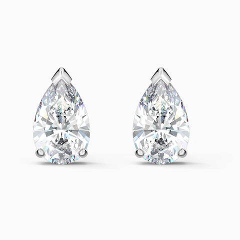 NEW ATTRACT PEAR STUD PIERCED EARRINGS, WHITE, RHODIUM PLATED