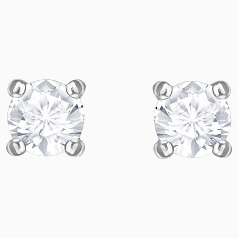 SWAROVSKI, ATTRACT ROUND PIERCED EARRINGS, WHITE, RHODIUM PLATED