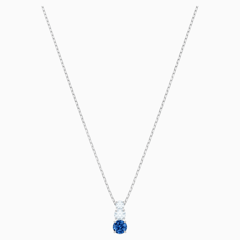ATTRACT TRILOGY ROUND PENDANT, BLUE, RHODIUM PLATED