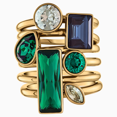 BEAUTIFUL EARTH BY SUSAN ROCKEFELLER RING SET (6), DARK MULTI-COLORED, GOLD-TONE PLATED