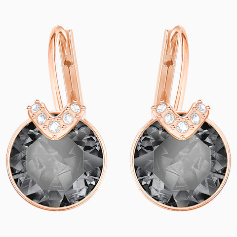 BELLA V PIERCED EARRINGS, GRAY, ROSE-GOLD TONE PLATED