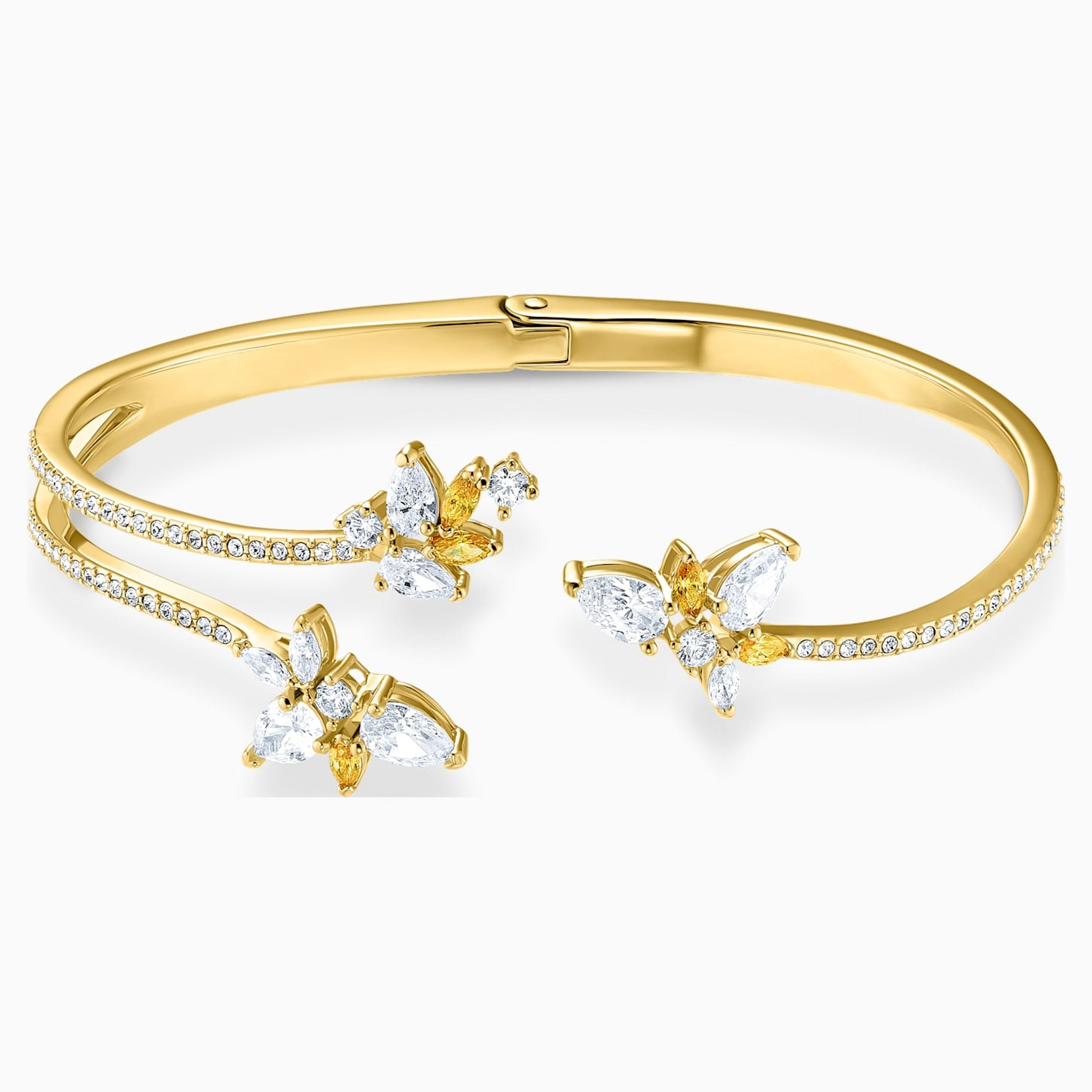 NEW  ATELIER SWAROVSKI BOTANICAL CUFF, WHITE, GOLD-TONE PLATED