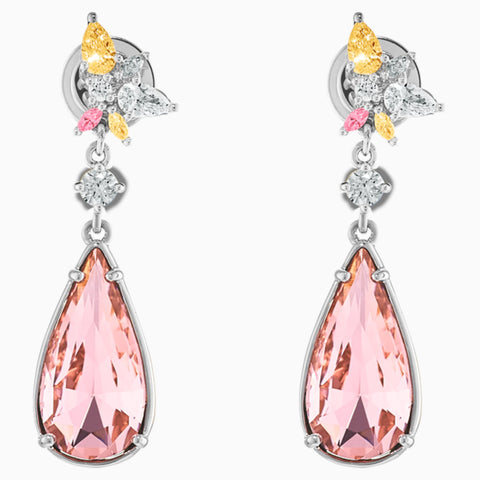 ATELIER BOTANICAL PIERCED EARRINGS, PINK, RHODIUM PLATED