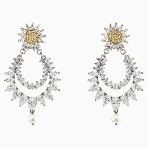 ATELIER BOTANICAL PIERCED EARRINGS, YELLOW, RHODIUM PLATED