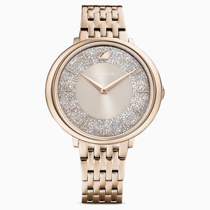 CRYSTALLINE CHIC WATCH, METAL BRACELET, GRAY, CHAMPAGNE-GOLD TONE PVD