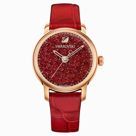 SWAROVSKI, CRYSTALLINE HOURS WATCH, LEATHER STRAP, RED, ROSE-GOLD TONE PVD