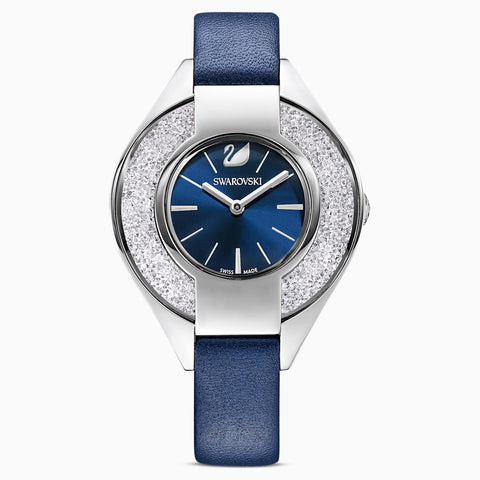 CRYSTALLINE SPORTY WATCH, LEATHER STRAP