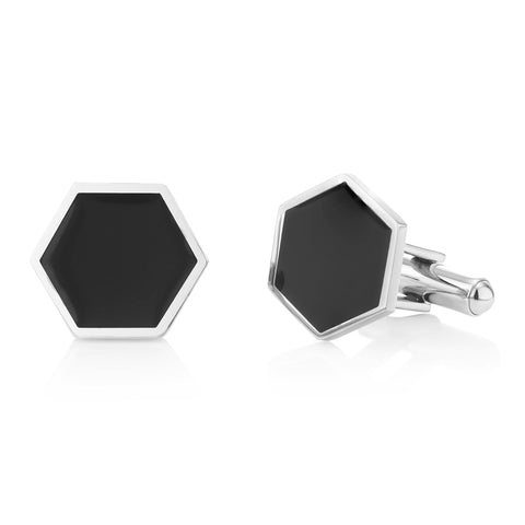 Buckley London, Axel Hexagonal Enamel Cufflinks