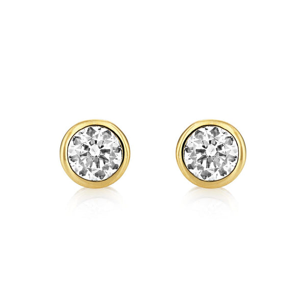 BUCKLEY LONDON, Central Brilliant Stud Earrings - Gold