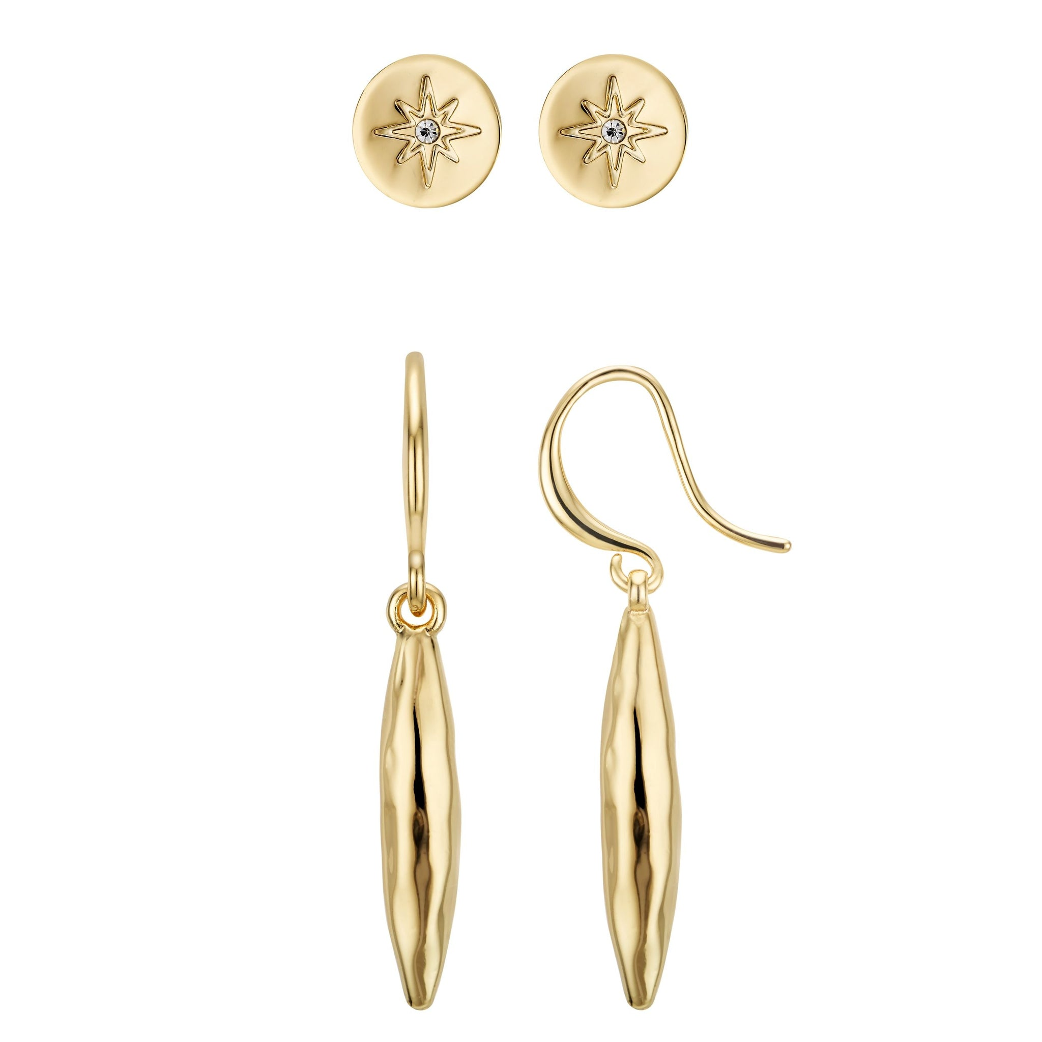 Buckley London, Eyre Hammered Earring Duo - Gold