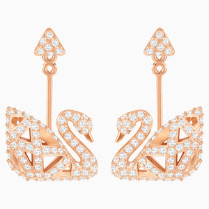 SWAROVSKI, VERSATILE FACET SWAN PIERCED EARRINGS, WHITE, ROSE-GOLD TONE PLATED