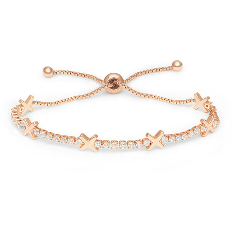 Buckley London, Hugs & Kisses 'X' Bracelet - Rose Gold