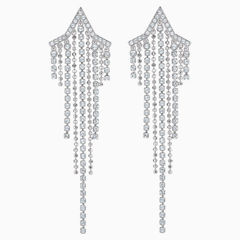 FIT STAR PIERCED TASSELL EARRINGS, WHITE, RHODIUM PLATED